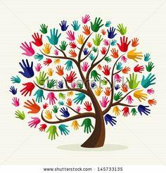logo hand tree
