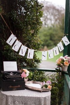 Fancy idea for a table at a wedding reception - guests can write notes to the couple.