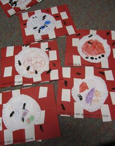 """Ants at a Picnic"" Fine Motor skills- Picnic blanket paper weave. Art- Food drawing & thumbprint ants. Literacy- Words depicting picture"
