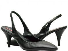 Prada - Leather Pointed Toe Slingbacks - Black - Size 7 M US / 37.5 EU