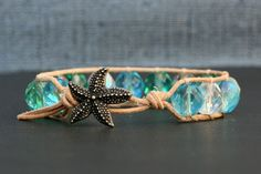 beach bracelet - mermaid jewelry - sea glass beach glass colored crystal on natural leather - starfish button