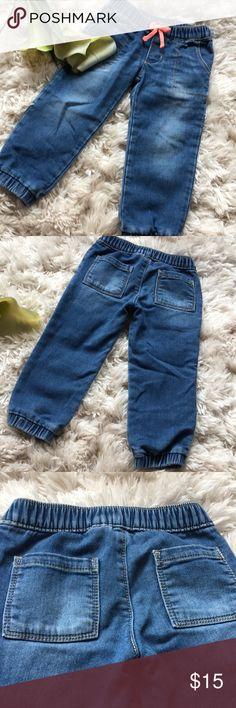20e93f6a26 Denim joggers Adorbs💕💕 bright coral bow . Front and back pockets. Elastic  waist