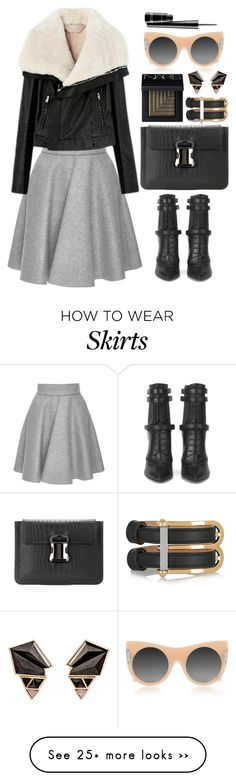 """""""MSGM grey pleated skirt"""" by thestyleartisan on Polyvore featuring MSGM, STELLA McCARTNEY, NARS Cosmetics, Christopher Kane, BOSS Hugo Boss, Balenciaga, MAC Cosmetics and Nak Armstrong"""