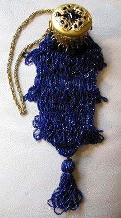 Antique Blue Crochet Braid Chain Gold Tone Jeweled Gate Top Cobalt Bead Purse