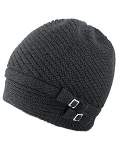 Dahlia Women's Angora Beanie Hat Rhinestone Square Double Bow Dual Layer Black * Be sure to check out this awesome product.