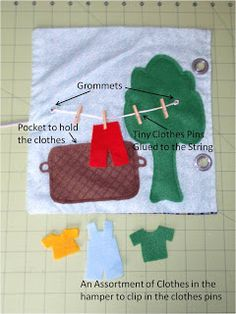 Diary of a Crafty Lady: Quiet Book. Another miniature washing line with clothes idea.