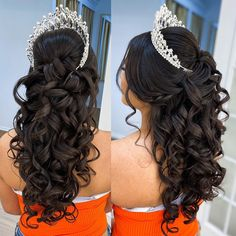 Sweet 16 Hairstyles, Quince Hairstyles, Crown Hairstyles, Wedding Hairstyles, Updo Hairstyle, Champagne Quinceanera Dresses, Quince Decorations, Quinceanera Hairstyles, Quince Dresses