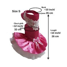 Dog dress, Dog wedding dress, Dog tutu dress, Pink dog harness dress, Pet dog dress, Poodle dog dress, Girl dog clothes, Small dog clothes ,Size S, Dog Dress Design and Made by SmallDogFashion This listing is for 1 pcs dog dress! Please measure your pet!!!!! every dog is different :)