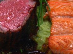 Pan-seared Salmon served with Wasabi Mashed Potatoes recipe from Wolfgang Puck via Food Network