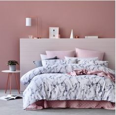 Home accessory: bedding, tumblr bedroom, baby pink, blouse, marble, bedroom, bedding, grey, white, urban outfitters - Wheretoget
