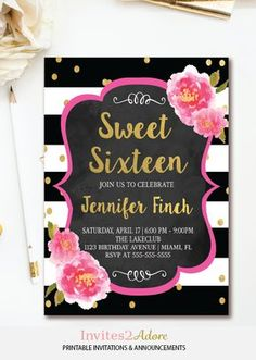 Black and white stripe Sweet Sixteen Birthday invitation with pink florals and gold confetti details by Invites2Adore. This Kate Spade inspired sweet 16 invite also can be customized for a bridal shower or baby shower.