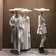 """ELISABETTA FRANCHI, Milan, Italy, """"Keep your feet on the ground, when your head's in the clouds"""", mannequins by ABC Mannequins, pinned by Ton van der Veer"""