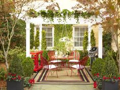 Stunning Spring Outdoor Patio Design with Red-Painted Iron Dining Sets Matching Wood Food Cart & Modern Electric Standing Grill and White-Painted Wood Pergola, 8 Furniture & decoration designs in luxury, urban, country, traditional, modern, rustic style, including Lovely Suburban Country Outdoor Patio with Wood & Rattan Patio Dining Set with Unpolished Wood Pergola and Concrete Lawn Edging, Awesome Modern-Rustic Outdoor Patio Kitchen Counter & Grill Design on Stacked Red-Bricks Stone and ...