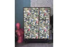 Upcycled Vintage Retro G Plan E Gomme Tallboy Wardrobe In Tropical Decoupage, Mid Century Wardrobe