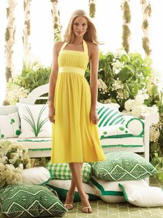 Zoom Bridal.com  Yellow Halter-top Tea-length Chiffon Bridesmaid Dress  ITEM# ZBBM01078  Comes in Daffodil, Orange and Sage for the Citrus Theme.