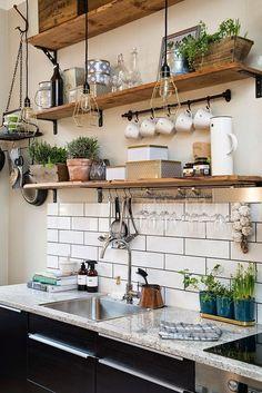 Parede de tijolinho na cozinha