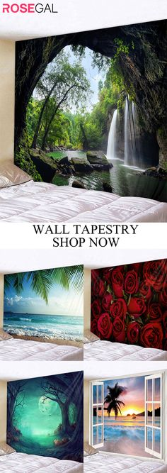 Rosegal spring forest wall tapestry home decor DIY   craft #Rosegal #rugs #home