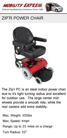 The Zip'r Power Chair. Small and dependable, perfect for office users and those in the home.   #powerchair #newportrichey #florida #mobilityexpress