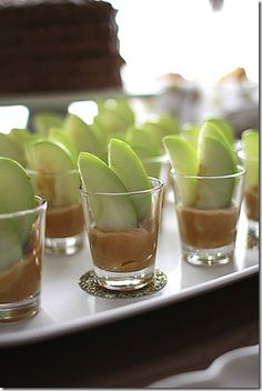 Caramel Apple Dippers served in shot glasses!  So easy to do and a beautiful presentation. This recipe has cream cheese and caramel apple dip blended together along with a little spice.