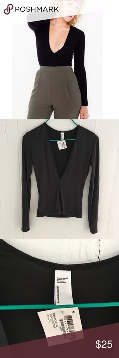 American Apparel Ponte Venture Top Form-fitting top with extra low V-neck, ponte construction and long sleeves. Ponte is a medium weight, super soft.  • 60% Rayon 35% Nylon 5% Elastane Ponte construction American Apparel Tops