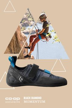 This is big ... as in, Black Diamond's first line of climbing shoes! A great choice for new climbers, the Black Diamond Momentum climbing shoes have neutral lasts--offering serious comfort without sacrificing performance-- and breathable fabric uppers. Available only at REI.