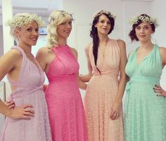 Gorgeous Boho Goddesses in our Goddess By Nature vintage lace multiway ballgowns in the prettiest pastel shades via our stockist Just Bridesmaids and Formals #goddessbynature #weddinggown #weddingdress #weddingexpo #weddingshow #bohobride #bohowedding #bohemianbride #pasteldress #bridesmaiddress #bridesmaidsdress #bridesmaidsdresses #bridesmaiddresses #bride #bridetobe #engaged #multiwaydress #lacedress #floralcrown #bridalgown #weddinginspo #bohemianwedding