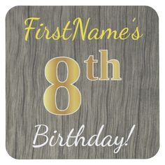 Faux Wood Faux Gold 8th Birthday  Custom Name Square Paper Coaster - elegant gifts gift ideas custom presents