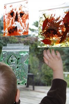Hair Gel Sun Catchers--tape them down low so that they can still be played with! :)
