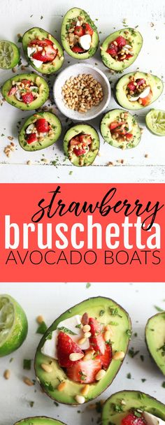 Strawberry Bruschetta Avocado Boats – The Toasted Pine Nut Light and delicious Strawberry Bruschetta Avocado Boats are the perfect summer recipe that are bound to take your backyard bbq up a notch! Vegetarian Side Dishes, Vegetarian Cookbook, Vegetarian Recipes, Healthy Recipes, Delicious Recipes, Healthy Appetizers, Appetizer Recipes, Healthy Salads, Snack Recipes