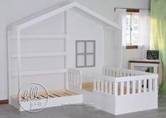 One of my favorites! This adorable solid wood bed fits a crib mattress & a twin mattress (not included). It can be purchased with or without...