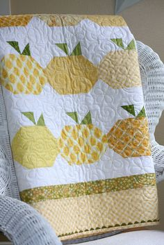 Fresh Squeezed - would even be cute in orange for - oranges or my fav - pumpkins. Could even just quilt a row for a table runner.