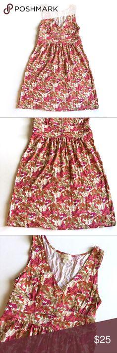 """ۥ LOFT Floral Printed Sleeveless Sundress J24 Ann Taylor LOFT floral sleeveless sundress // Sz M // 60% cotton, 40% Modal // rouched Waist // v-neck // Colors are tan, cream, pink, purple, fuchsia, burnt orange // no signs of wear and no fading // 18"""" across armpits // 14.5"""" waist  laid flat // 36"""" length // non-smoking home // not my size. Can't model. // Same Day/Next Day Shipping!! // 8.3o // Bundle Discounts LOFT Dresses Midi"""