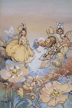 """Part of an early children's book about fairies by PEG MALTBY (Australian, 1899-1985) with one of the illustrations entitled """"A Fairy Crossing a Spider's Web Whist Another Daffs His Cap."""""""
