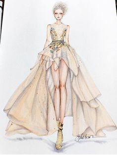 Haute couture design ♦F&I♦ Fashion Design Sketchbook, Fashion Illustration Sketches, Illustration Mode, Fashion Design Drawings, Fashion Sketches, Moda Fashion, Fashion Art, Fashion Models, Fashion Drawing Dresses