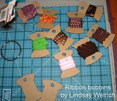 DIY bobbins for extra ribbon