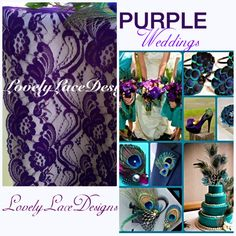 Peacock Weddings Purple Lace Table by LovelyLaceDesigns on Etsy