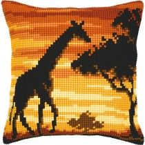Vervaco Giraffe Sunset Cross Stitch Cushion Kit