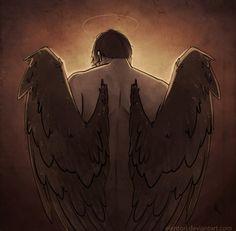 Love his wings! / Castiel fan art