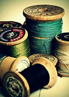 Items similar to Sewing Photography - Still Life Photography - Spools Of Joy - Green - Blue - Tan - Fine Art Photography Print on Etsy Vintage Sewing Notions, Vintage Sewing Machines, Sewing Tools, Sewing Projects, Couture Vintage, Wood Spool, Thread Spools, Foto Art, Fine Art Photography