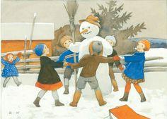 RUDOLF KOIVU - Lumiukon ympärillä Ghost Of Christmas Past, Christmas Tale, Winter Christmas, Christmas Cards, Xmas, Christmas Illustration, Children's Book Illustration, Frosty The Snowmen, Snowman