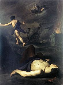 The meaning of the The Mark of Cain ~ (Cain and Abel photo attributed to Vouet, and to Pietro Novelli) Catholic Art, Religious Art, Religious Tattoos, Kain Und Abel, Mark Of Cain, Web Gallery Of Art, World Of Darkness, Biblical Art, European Paintings