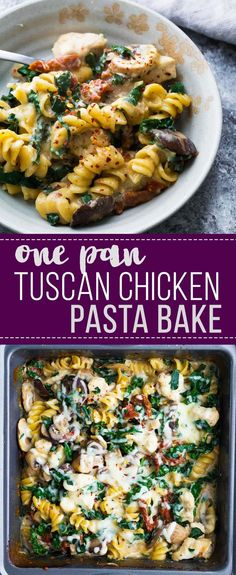 One pan Tuscan chicken pasta bake- this is going to be the easiest pasta bake of your life! The pasta, chicken and veggies all cook together in the pan, and it makes for an easy freezer meal that can be baked from frozen.