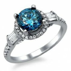 Blue Round & White Baguette Diamond Engagement Ring -Love that color!