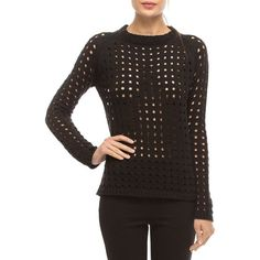 Walter Baker Dana Long Sleeve Eyelet Sweater ($158) ❤ liked on Polyvore featuring tops, sweaters, black, slim fit sweaters, pullover sweaters, long tops, long sleeve pullover sweater and long pullover sweaters