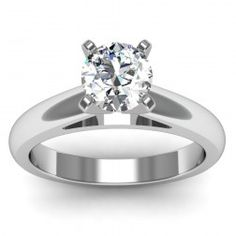 Rounded Cathedral Engagement Ring with Band in 18k White Gold  In stockSKU: C1017SET-18W