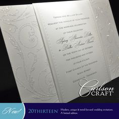 This dazzling wedding invitation showcases the elegant side of the 20THIRTEEN album. You can find Glittering Filigree in the limited edition 20THIRTEEN album from Carlson Craft.  www.KeyFormsandGraphix.cceasy.com