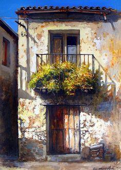 Francesco Mangialardi - Google zoeken Watercolor Scenery, Watercolor Landscape, Watercolour Painting, Painting & Drawing, Landscape Paintings, Wow Art, Painting Inspiration, Art Photography, Street Art