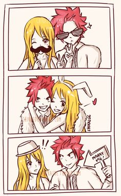 """chikaede: AU nalu goofing around at a wedding photobooth when Nastu suddenly decides he wants to pop the question. (Sorry for the excessive watermarks I don't want this cropped because it would ruin the whole """"photo booth"""" effect ) Fairy Tail Natsu And Lucy, Fairy Tail Lucy, Fairy Tail Art, Fairy Tail Ships, Nalu, Gruvia, Fairy Tale Anime, Fairy Tales, Photo Booth Effects"""
