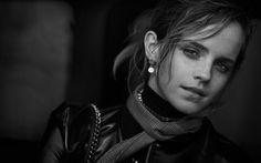 Herunterladen hintergrundbild emma watson, britische schauspielerin, portrait, monochrom, schöne frau