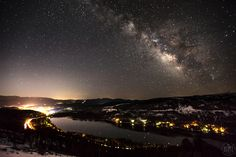 """""""Milky Way Above Donner Lake 1"""" - Night time photograph of the Milky Way above Donner Lake and Truckee, California."""